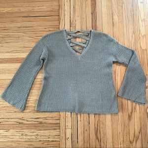 Poof New York V Neck Bell Sleeve Sweater Size S